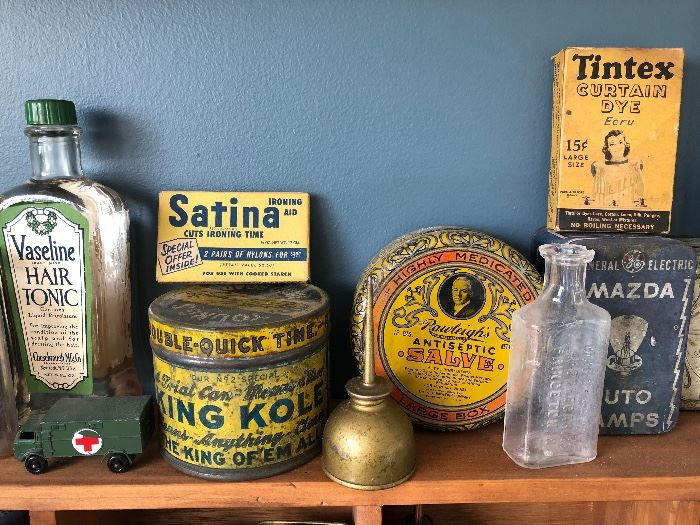 Vaseline Hair Tonic bottle, Satina Ironing Aid box, King Kole Double Quick Time Cleaner tin, Rawleigh's Antiseptic Salve tin, Mazda Auto Lamps tin, Tintex Curtain Dye box, oil can, Princeton NJ bottle