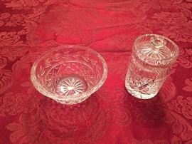 Waterford crystal.  Small bowl and honeypot.