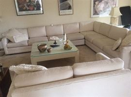 Contemporary cream sectional sofa and loveseat