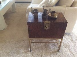 Antique wood and brass storage side table