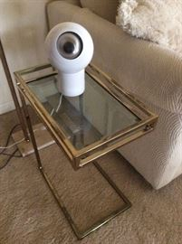 Brass and glass side table, MCM eyeball lamp