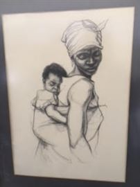 African Mother Carrying Child by Kofi Bailey. COA provided on all items.