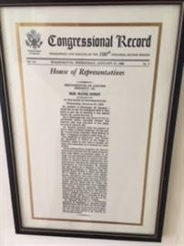 Congressional Record recognizing Lerone Bennett Jr, House of Representatives, January 27, 1988, Representative Wayne Dowdy, MS     COA provided on all purchases.
