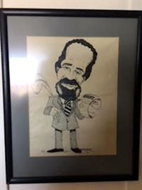 Lerone Bennett Jr Caricature by Harry Pulver Jr COA available.
