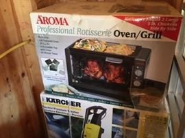 Aroma (new in box) Rotisserie Oven/Grill and Karcher elec. pressure washer (new in box)