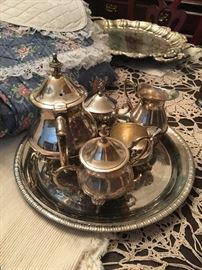 tea set and tray (silver plate)