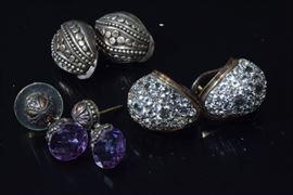 Three Pair Silver Earrings
