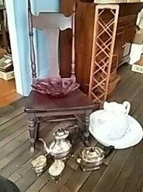 Antique Chair, Wash Basin Set