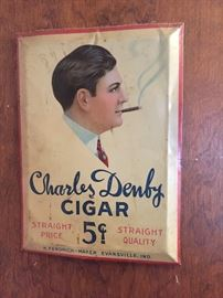 tin metal cigar sign