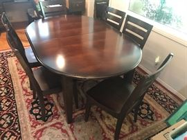 Dining Room Table with Six Chairs  / Area Rug