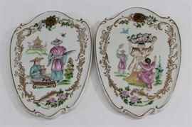 Lot 7: Pair Continental Porcelain Chinoiserie Plaques