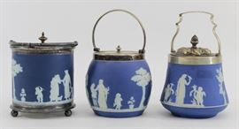 Lot 10: 3 Wedgwood Biscuit Jars