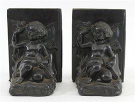 Lot 13: Pair Vintage Ronson Cherub Bookends