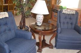 Paul Robert Swivel Rockers, occasional tables, table lamps