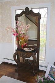Standing Mirror and  Attached  Table with Floral Decorative and Decorative Platter