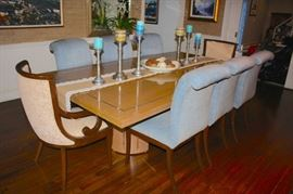 .Modern Dining Table Burled Top and 8 Chairs