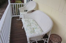 White Wicker Sofa and Rocking Chair