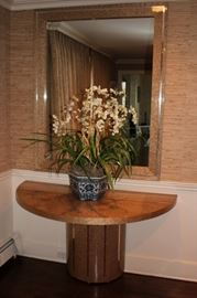 Demi-Lune Foyer Table and Large Mirror with Floral Decorative