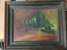 Assorted vintage paintings and prints.