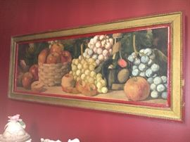 Antique fruit watercolor painting by listed Italian artist, Giovanni  Barbaro (1864-1915).