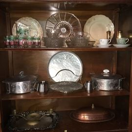 Vintage glassware and metal ware.
