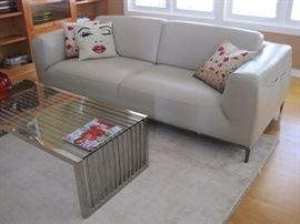 Leather Sofa. Contemporary Coffee Table.