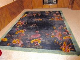 antique 1930's art deco chinese nichols room sized rug, a beauty. Shows wear, so we priced it as such, but VERY restorable