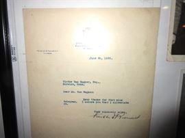 Roosevelt signed letter 1938