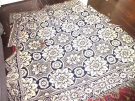 Jacquard coverlet, in as-is condition