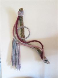 Yarn and Dried Cactus Wall Sculpture