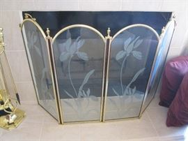 Glass and Brass Fireplace Screen