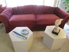 Interesting Channel Design Sofa in red velvet.                       2-Hexagonal Accent Tables