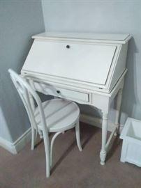 Darling white drop front desk