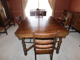Antique Dining table With 3 additional Leaves and 6 chairs  8 foot by 45 inches