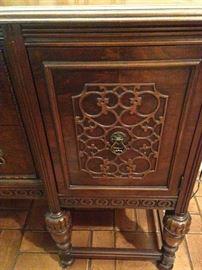 Antique buffet's carved details