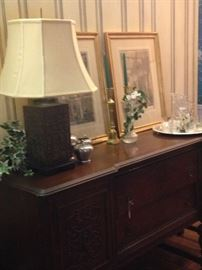 Antique buffet matches the table and chairs
