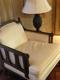 Arm chair; pineapple lamp