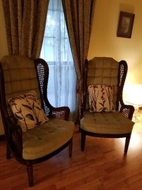 Vintage cane wingback parlor chairs