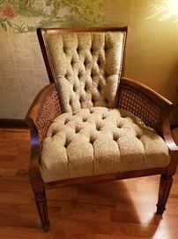 Vintage parlor chair with cane accents