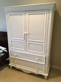 White cottage style entertainment cabinet