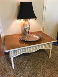 Old wicker coffee table