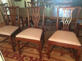 8 Chippendale style dining room chairs by Lexington.