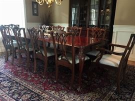 8'x4' Link Taylor Mahogany Chippendale Ball and Claw Dining Table w/8 Acanthus Scrolled Chippendale Style Side Chairs and 2 Arm Chairs