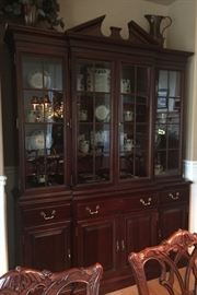 "Link Taylor ""Heirloom"" Mahogany China Hutch and Buffett, 7 1/2' x 5 1/2', w/3 Drawers and 4 Doors .  Hutch is lit w/3 locking doors."