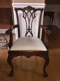 One of two Acanthus Scrolled Chippendale Ball and Claw Arm Chairs - seat height 20""