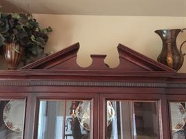 Detail of Top of Mahogany Hutch