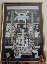 Large original artwork - Indian Mughal-style scene, hand painted on silk and professionally framed