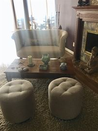 Loveseat, ottomans, coffee tables