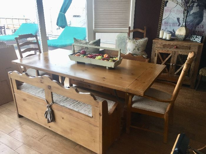 Farmhouse table with benches & chairs
