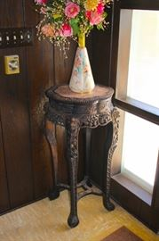 Inlaid, Carved Round Side Table with Decorative Vase
